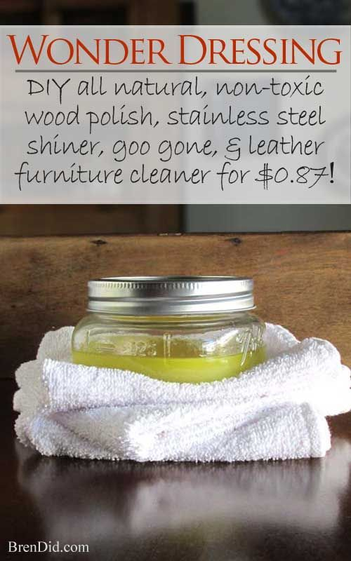 Great all natural, non-toxic DIY! This household staple works great for deep cleaning and polishing your furniture and much, much more.  You probably have the ingredients at home! http://brendid.com/furniture-wonder-dressing/