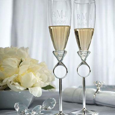 Diamond Ring Design Wedding Champagne Glasses
