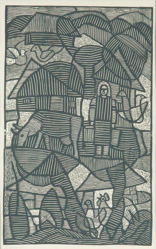 "Leopold Lewicki (1906 Burdiakowce k. Tarnopola - 1973 Lwow) ""Ziemia"" linocut on paper,"