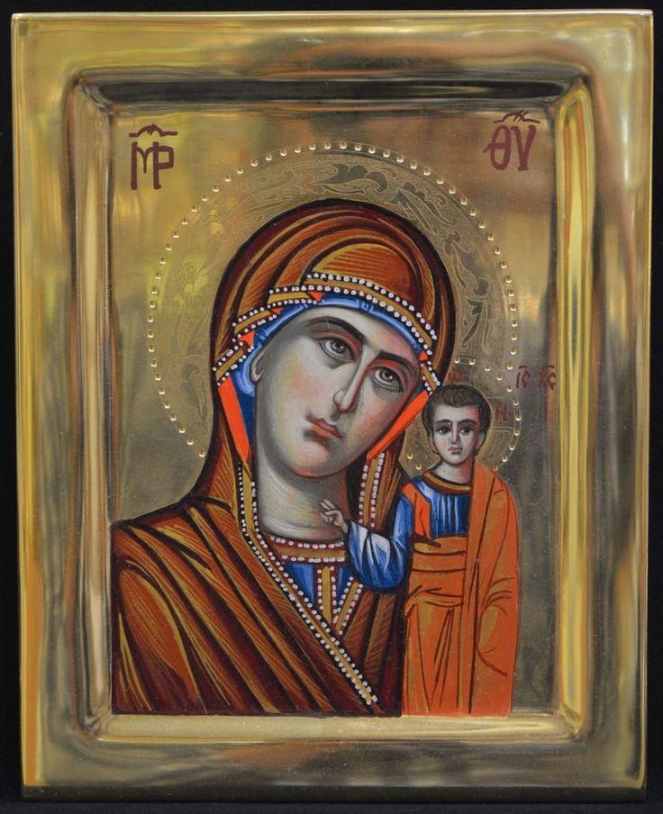 Orthodox Icon Handmade Handpainted Byzantine Tempera 24k GOLD Virgin Mary Kazan