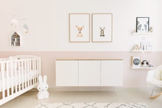 Baby girl nursery with floating changing table cabinet by House of Hawkes www.houseofhawkes.com