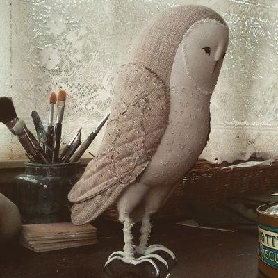Barn owl fabric sculpture by Willowynn textile art