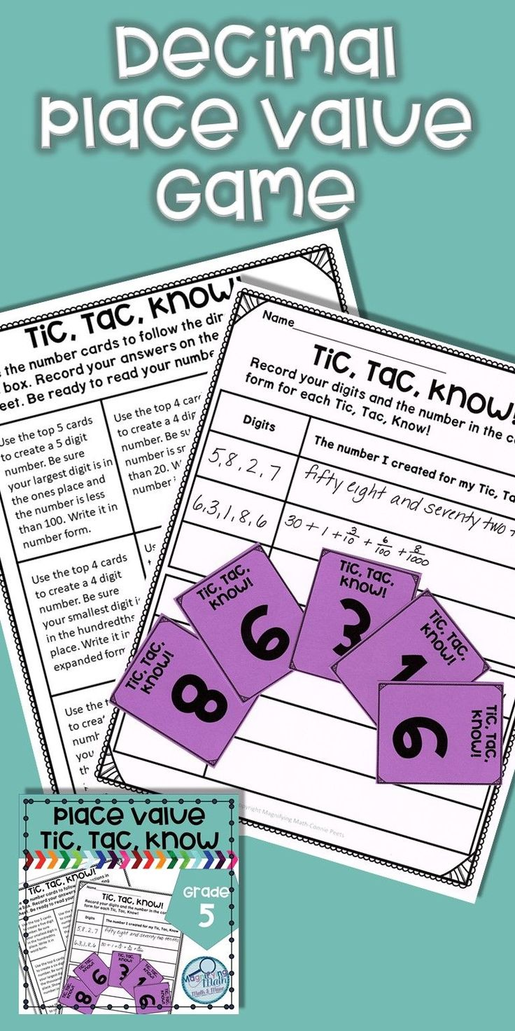 Use this game like activity to provide fun place value practice for your fifth and sixth grade students. Classroom anchor charts are included for bulletin boards. Also included are student sized charts that can be used as a resource during the game or in an interactive notebook. Students will create up to 5-digit numbers into the thousandths place and write in expanded form, unit form, picture form, number form and word form. Great for practice or review for 5th and 6th grade students.