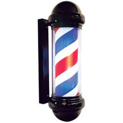 Barber pole revolving lighted