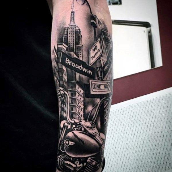 70 City Skyline Tattoo Designs For Men Downtown Ink Ideas Skyline Tattoo New York Tattoo Street Tattoo