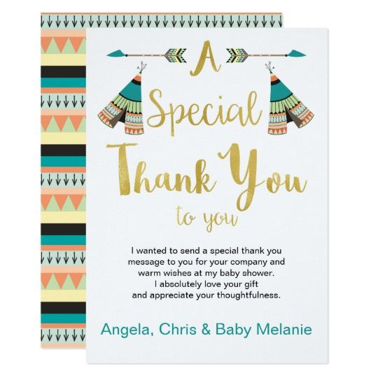 Little One Faux Gold Baby Shower Thank You Card