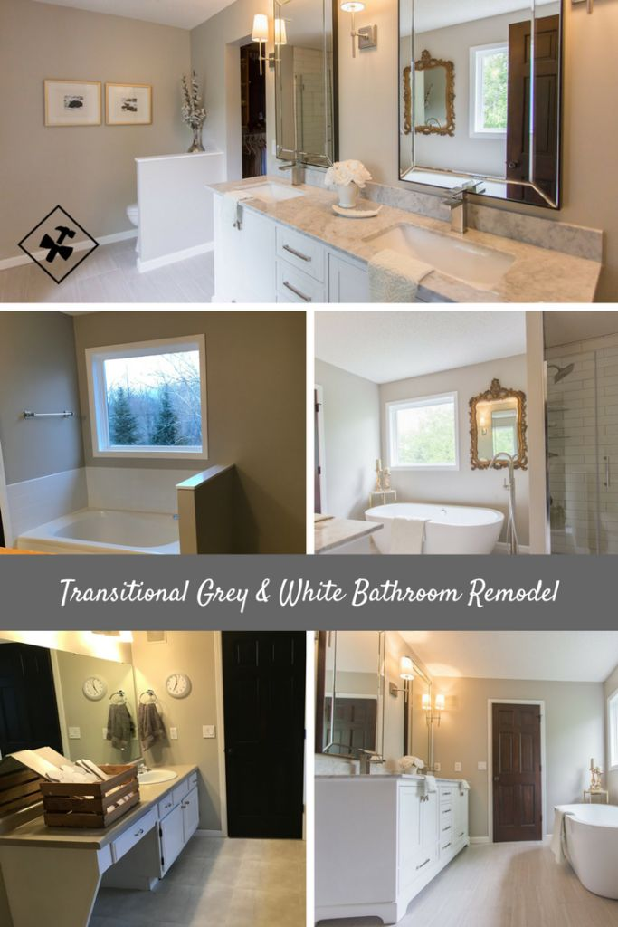 Transitional Grey & White #Bathroom #Remodel