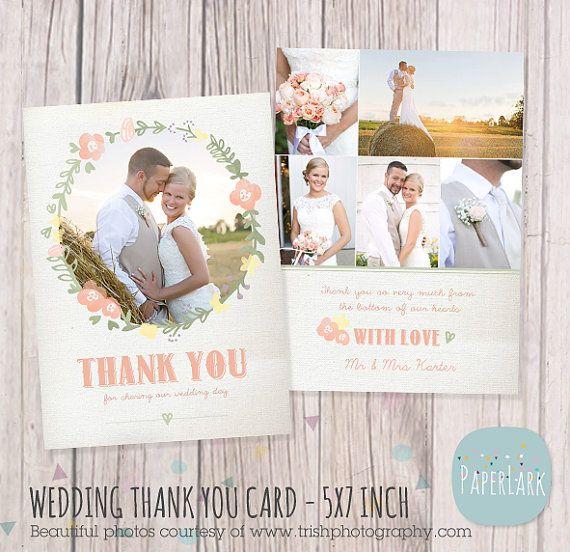Hochzeit Danke Karte Photoshop-Vorlage AW014 von PaperLarkDesigns
