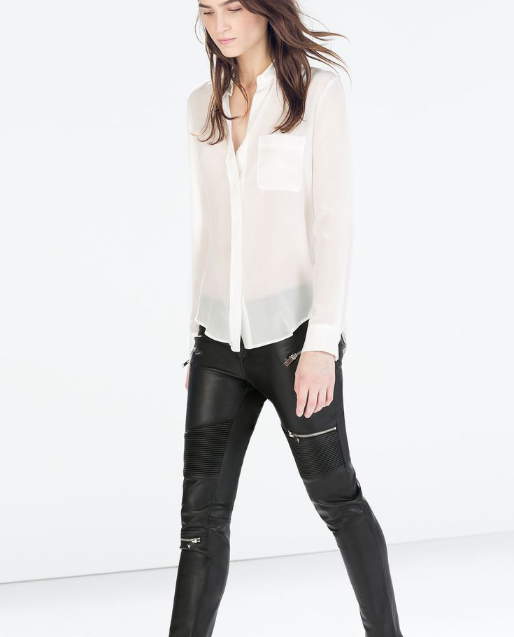 FAUX LEATHER BIKER TROUSERS WITH ZIPS from Zara