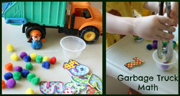 garbage truck math - numbers + pom poms + small cup + truck. Have child pick number, put corresponding number of pom poms in trash can (small cup) then empty trash can into truck