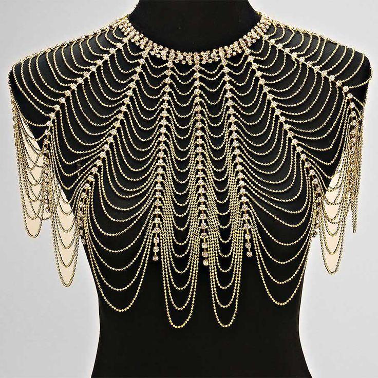 Crystal Draped Shoulder Necklace
