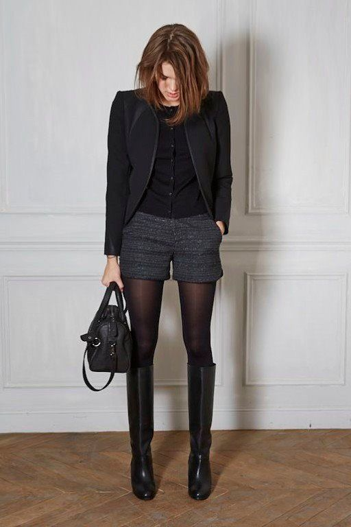 marled grey professional shorts business shorts black tights black blazer over shorts winter work wear black boots monochrome winter wear