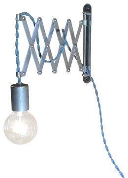 accordion swing arm bare bulb wall light custom colors steel blue cloth swag