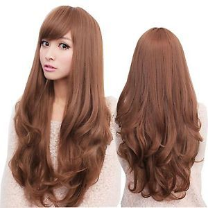 New Sexy Womens Girls Fashion Style Wavy Curly Long Hair Full Wigs Wig Brown   eBay