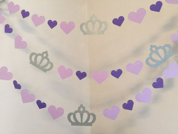 Princess Birthday Garland - Princess Decor - Purple Princess 1st birthday garland - Princess Birthday Party Decorations #princess #garland