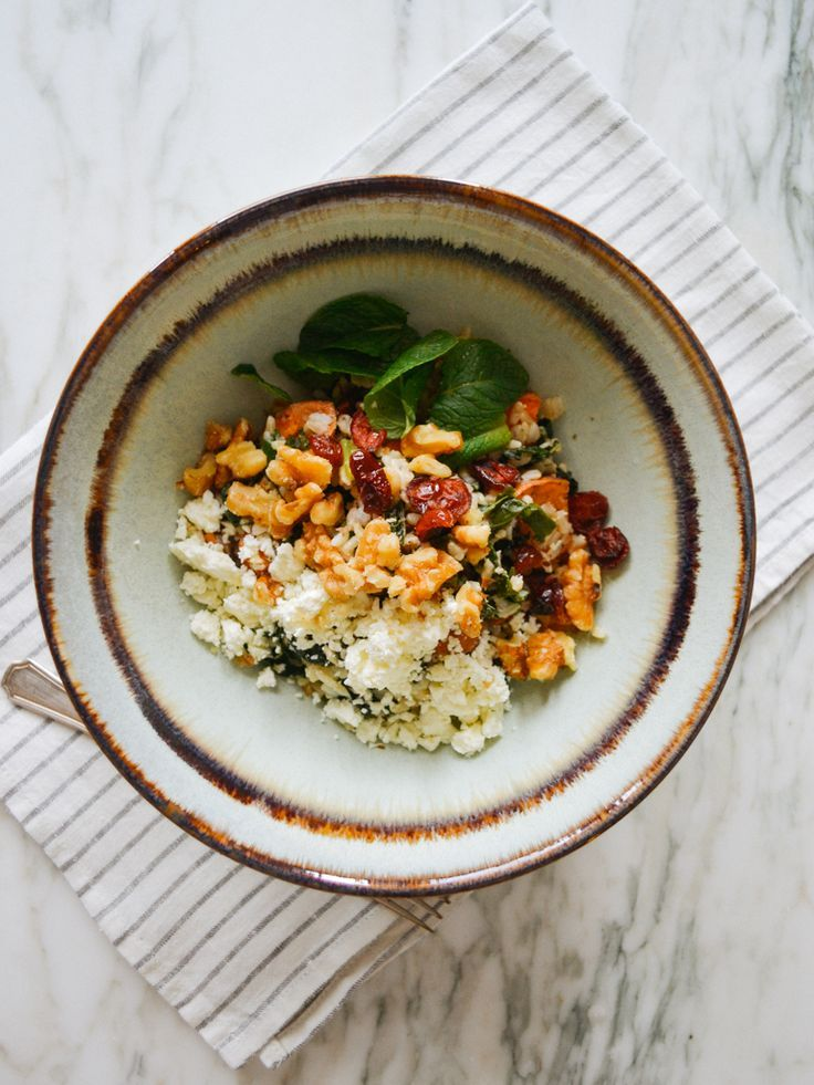 roasted sweet potato brown rice salad with feta, mint, sumac, walnuts, and lemon