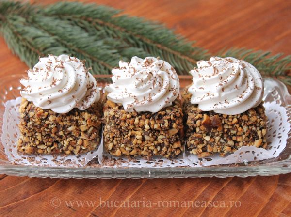 cakes with nuts and whipped cream