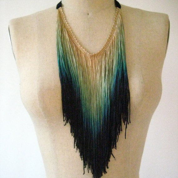 Peacock Fringe Necklace nail polish painted chains instead with a few strands of rhinestone