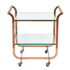 Art Deco Copper Bar Cart in the Style of Carl Aubock