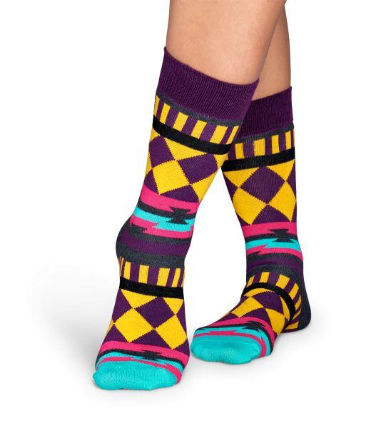 Farvestrålende strømper i Disco Tribe stil. Happy Socks.
