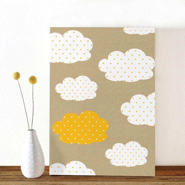 simpel geboortekaartje met wolk