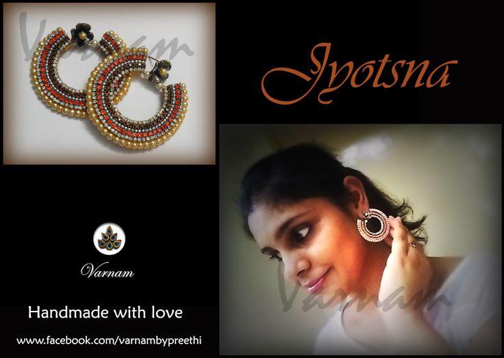 Code name: Jyotsna Handmade paper based earring embellished with rhinestones and glass pearls. #handmadelove #varnambypreethi #jyotsna #posing #model #earrings #accessories #jewelry #chennai #partywear #traditional #stylish