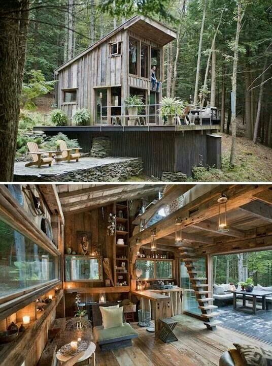 Rustically Awesome Small Cabin in the Woods | Tiny House Pins One of my concerns with a tiny house is the feeling of being too enclosed and cramped. This tiny cabin feels so spacious and lets lots of natural light in!