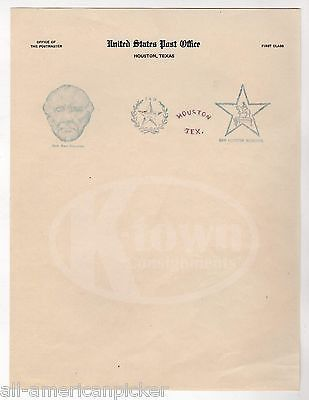 GENERAL SAM HOUSTON TEXAS ANTIQUE UNITED STATE POST OFFICE STAMPS LETTERHEAD
