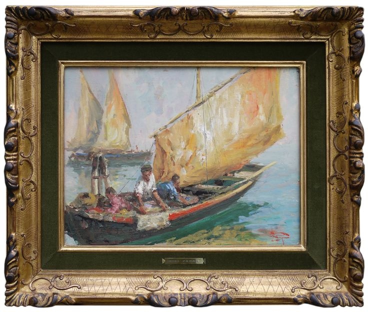 Luigi Pagan – Pescatori in laguna | Fishing boats in Venice lagoon | Antichità Missaglia