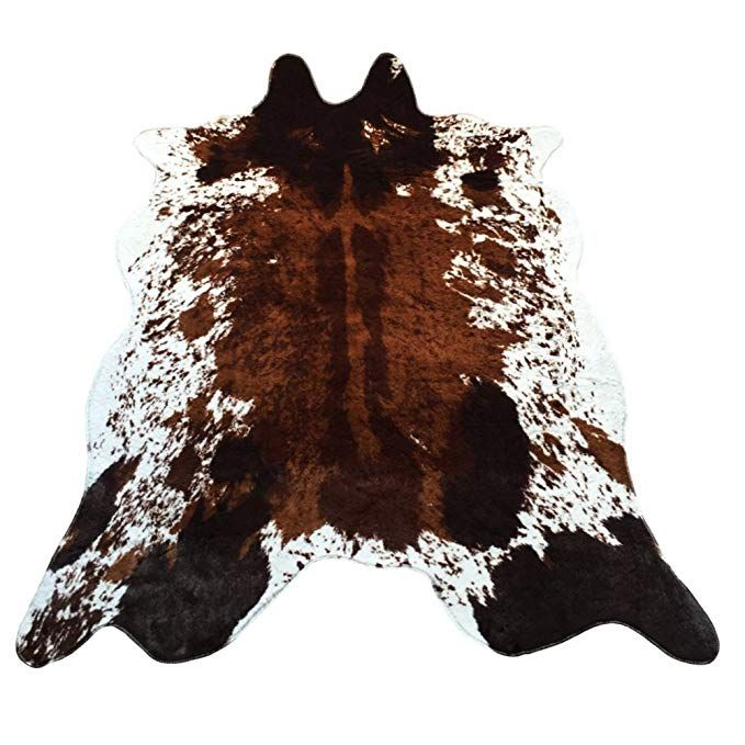Jaye Large Size Faux Fur Cow Print Rug 4 9x6 6 Feet Faux