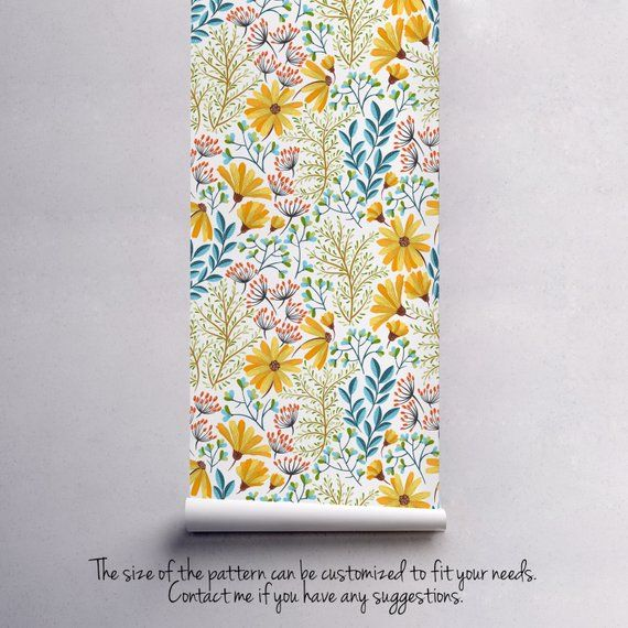 Peel And Stick Bohemian Spring Floral Wallpaper Removable Etsy Floral Wallpaper Wall Murals Self Adhesive Wallpaper