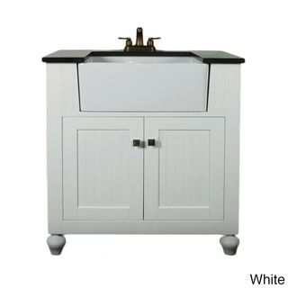 Granite Top 30-inch Farmhouse Apron Style Single-sink Bathroom Vanity | Overstock.com Shopping - The Best Deals on Bathroom Vanities