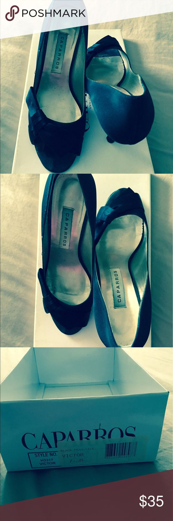Caparros shoes Black satin shoes. Very elegant and classy look. Can be used from daytime for professional use or with evening wear. Worn just a couple times. Caparros Shoes Heels