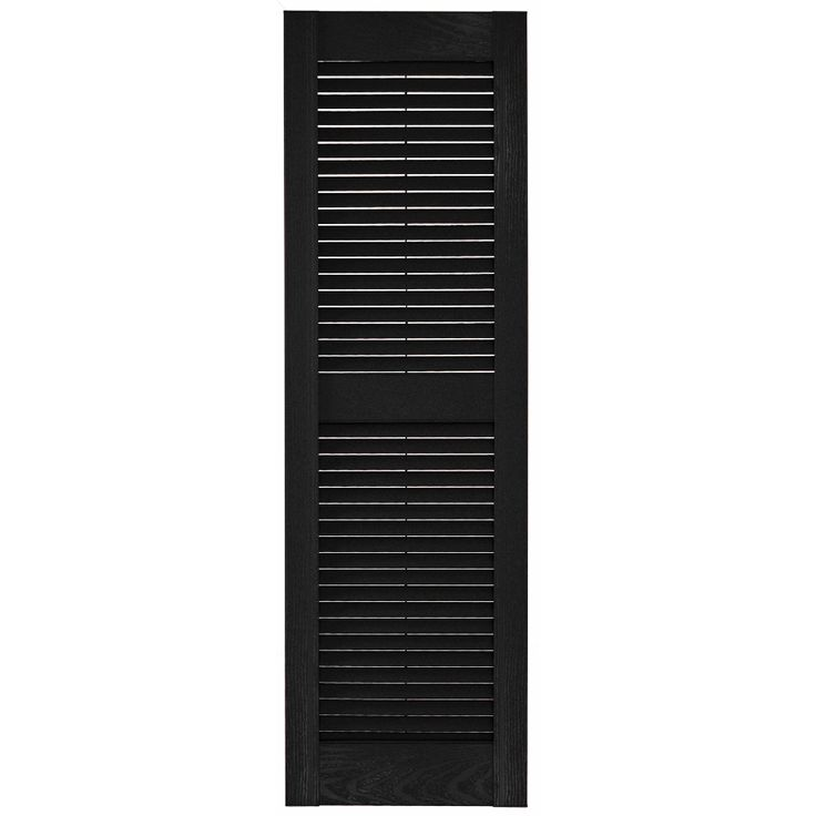 Custom Shutters Llc 2 Pack Black Louvered Vinyl Exterior Shutters Common 16 In X 59 In Actual 16 25 In X Custom Shutters Shutters Exterior Vinyl Exterior