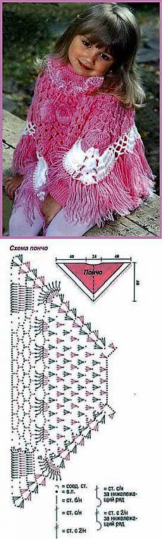 Розовое вязаное пончо. Схема вязания крючком. - Вязание пончо для девочки - Вязание девочкам - Вязание для малышей - Вязание для детей. Вязание спицами, крючком для малышей
