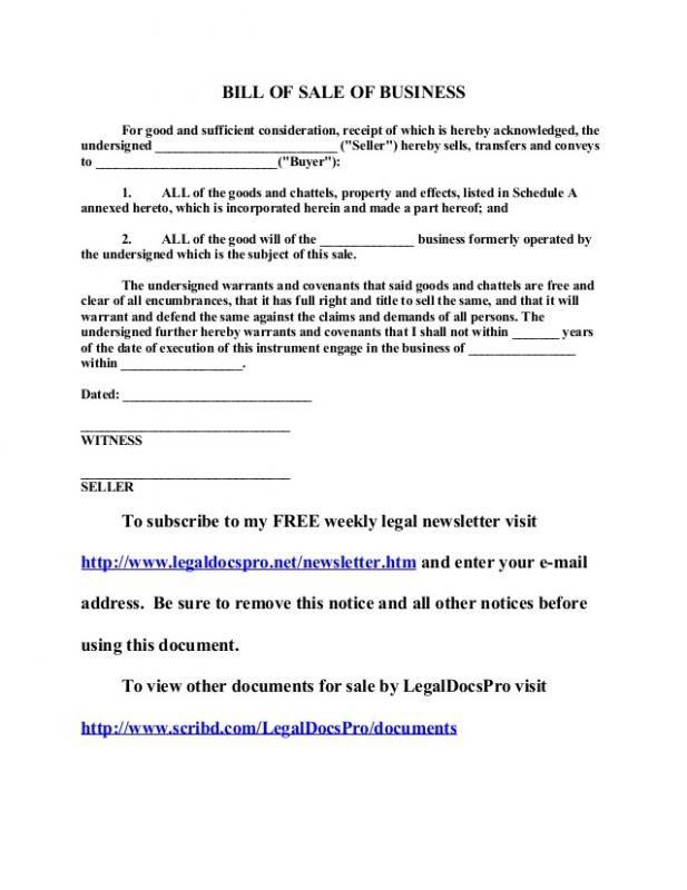 Business Bill Of Sale Bill Of Sale Template Good Essay Sample Resume