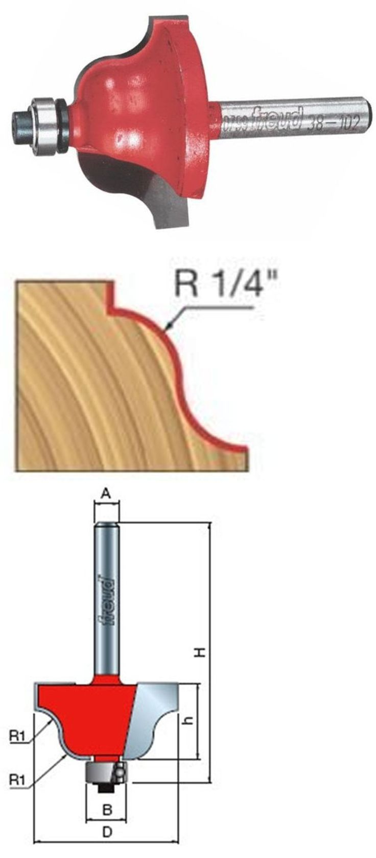Router Bits 177001: Freud 38-102 Roman Ogee Router Bit, 1 3 8 Diameter, 1 4 Shank -> BUY IT NOW ONLY: $36.99 on eBay!