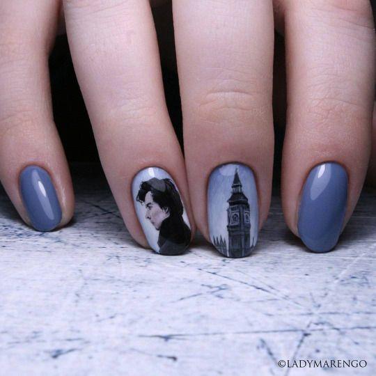 #Sherlock Nailart   #geeknails #ladymarengo #шеллак #гельлак #нейларт #ногти #маникюр #дизайнногтей #nailart #naildesign #nails #шерлок #камбербетч #бенедикткамбербетч #cumberbatch