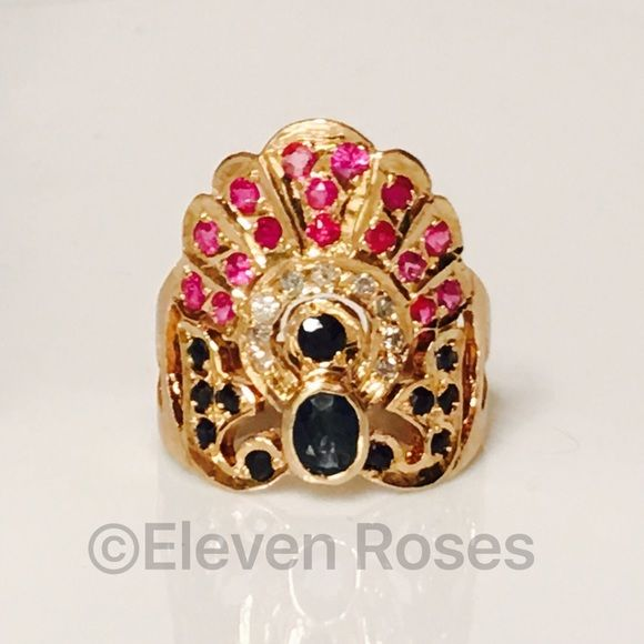 18k Gold Ornamental Sapphire Ruby & Diamond Ring 18k Gold European Ornamental Gemstone Ring - 750 18k Yellow Gold -  Approx .80 CTTW Sapphire, Ruby & Diamond Gemstones - Hallmarked; 750, K18 - US Size 7.75 (Able To Be Re-sized) Fine Jewelry Jewelry Rings