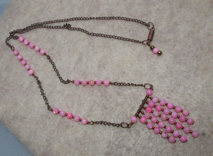 Handmade Copper and Pink Boho Necklace by Nevadamadam on Etsy