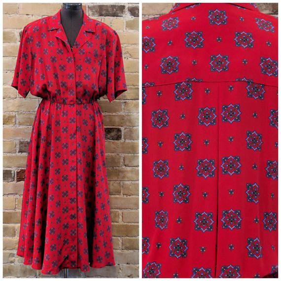 Vintage 1980's Liz Claiborne Red with Purple Geometric