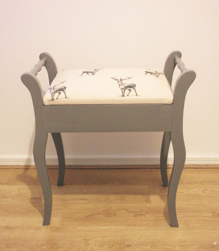 Vintage piano stool in grey with stag print seat