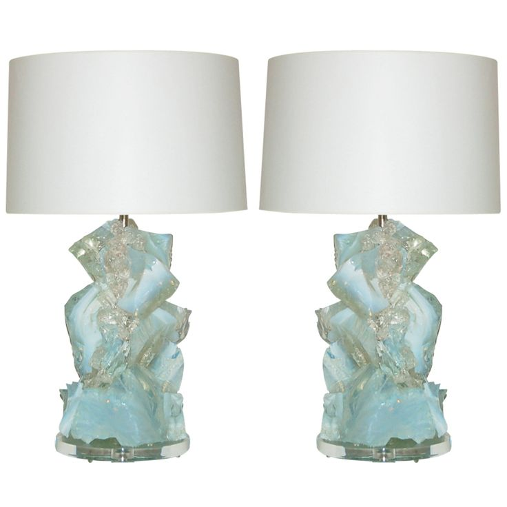 Who do I have to kiss for these? :) Pair of White Opaline Rock Candy Lamps by Swank Lighting