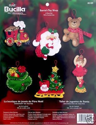 """Bucilla """"Santa's Toy Shop"""" Felt Christmas Ornament Kit"""