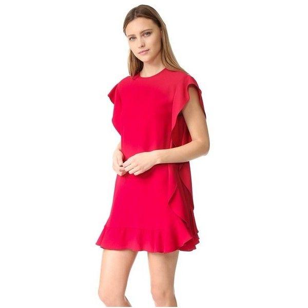 Red valentino flutter sleeve denim dress