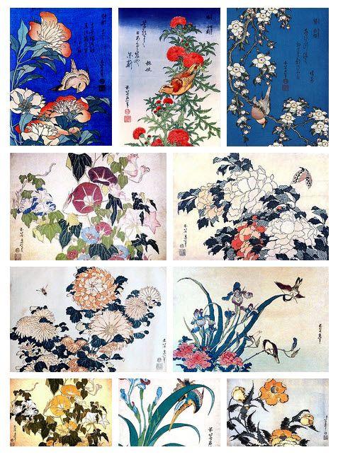 Katsushika Hokusai, flowers and birds. | Hokusai ...