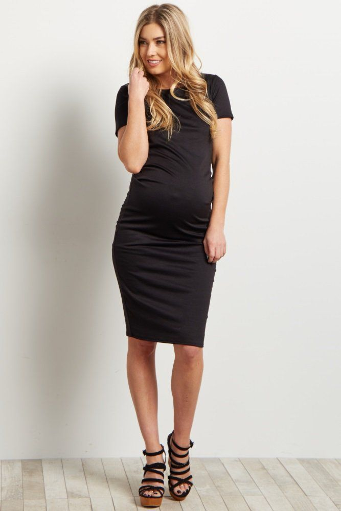 46df70ae22c Black Short Sleeve Fitted Maternity Dress