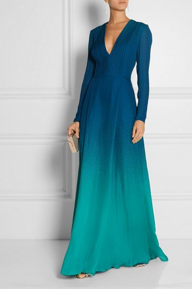 Storm-blue and turquoise silk-georgette Concealed hook and zip fastening at back 100% silk; lining: 100% silk Dry clean Designer color: Blue