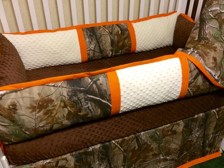 Custom Baby Bedding- RealTree Camo 4pc Boys Crib Set with orange trim