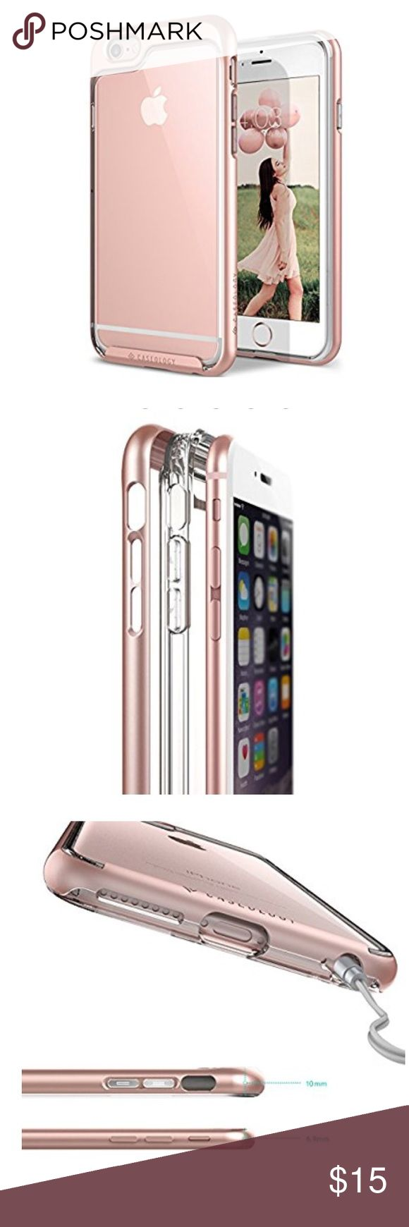 Rose Gold iPhone 6S Plus Case, by Caseology iPhone 6S Plus Case, Caseology [Skyfall Series] Transparent Clear Enhanced Grip [Rose Gold] [Slim Cushion] for Apple iPhone 6S Plus & iPhone 6 Plus. Used condition with some scratches on corners. A beautiful case. Caseology Accessories Phone Cases